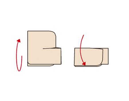 図の向きに返し、右そでを折り返す。