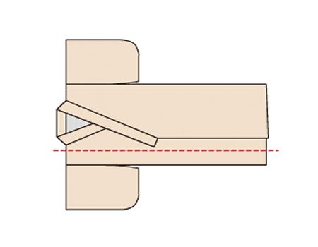 図のように長襦袢を広げ、上前が上になるように重ねる。