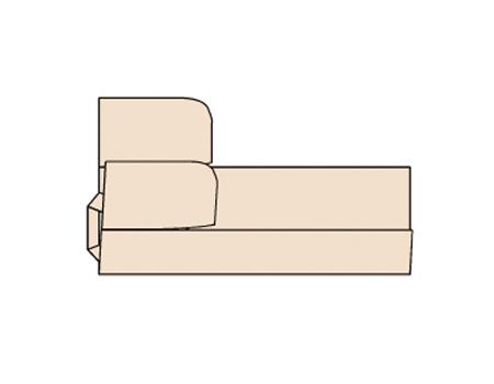 両手で手前のわきぬい目を持ち、わきぬい目が中央にくるように、図一の点線の位置で内側に折る。